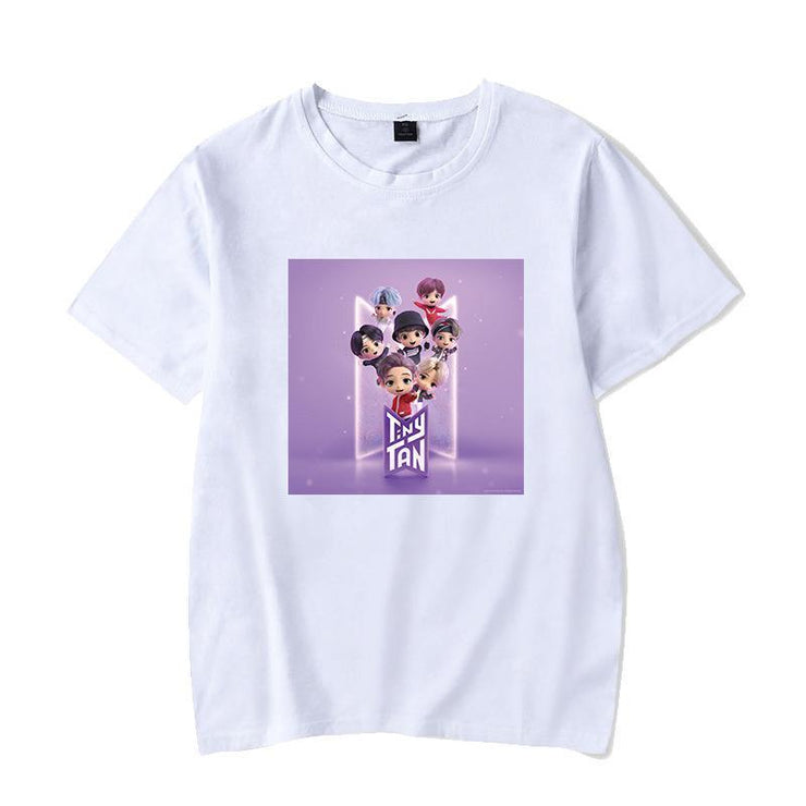 BTS Character TinyTAN Concept T-shirt C / WHITE / S Gotamochi BTS MERCH BT21 MERCH KAWAII STORE