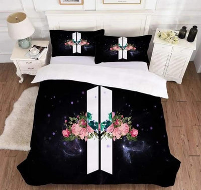 BTS Design Bed Cover + 2 Pillowcases S / ARMY Logo Gotamochi BTS MERCH BT21 MERCH KAWAII STORE