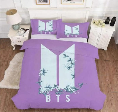 BTS Design Bed Cover + 2 Pillowcases S / BTS Logo 2 Gotamochi BTS MERCH BT21 MERCH KAWAII STORE