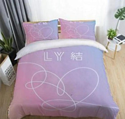 BTS Design Bed Cover + 2 Pillowcases S / Love Yourself 3 Gotamochi BTS MERCH BT21 MERCH KAWAII STORE