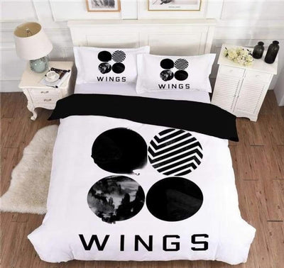 BTS Design Bed Cover + 2 Pillowcases S / Wings 2 Gotamochi BTS MERCH BT21 MERCH KAWAII STORE