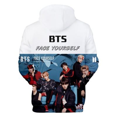 "BTS ""Face Yourself"" Graphic Hoodie 4XL Gotamochi BTS MERCH BT21 MERCH KAWAII STORE"
