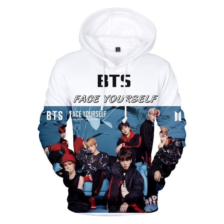 "BTS ""Face Yourself"" Graphic Hoodie Gotamochi BTS MERCH BT21 MERCH KAWAII STORE"
