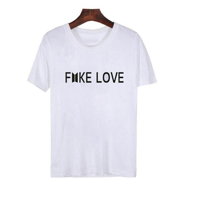 BTS Fake Love Tee white / S Gotamochi BTS MERCH BT21 MERCH KAWAII STORE