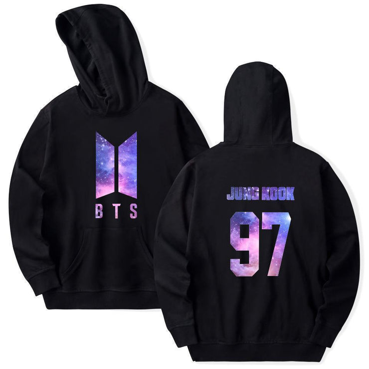BTS Galaxy Nexus Bias Hoodie JUNG KOOK / Black / M Gotamochi BTS MERCH BT21 MERCH KAWAII STORE