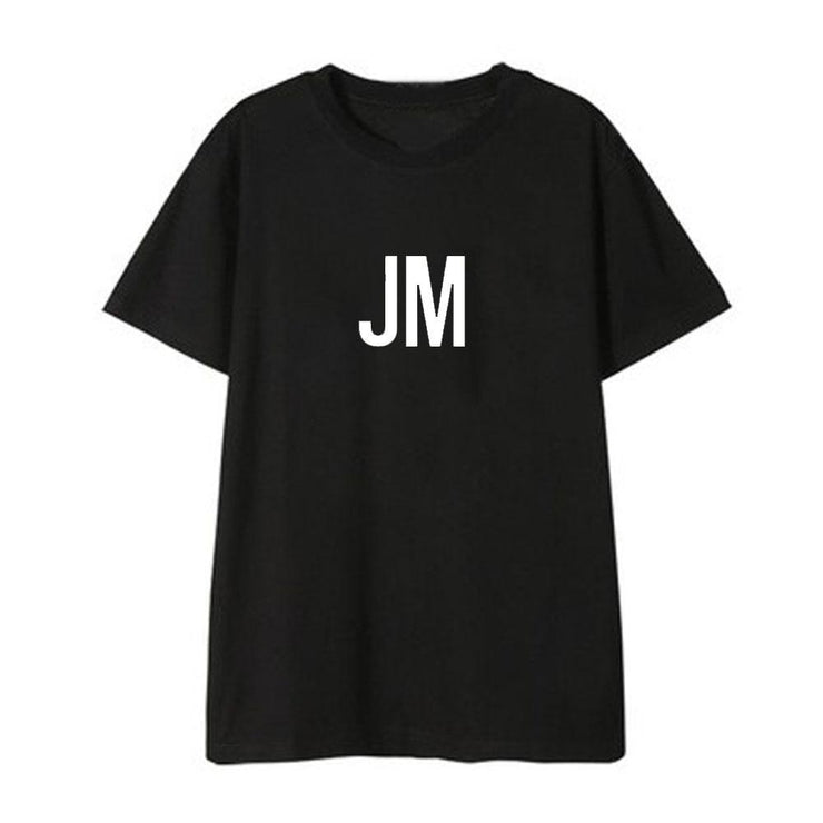 BTS Initial Name T-shirt JIMIN / BLACK / S Gotamochi BTS MERCH BT21 MERCH KAWAII STORE