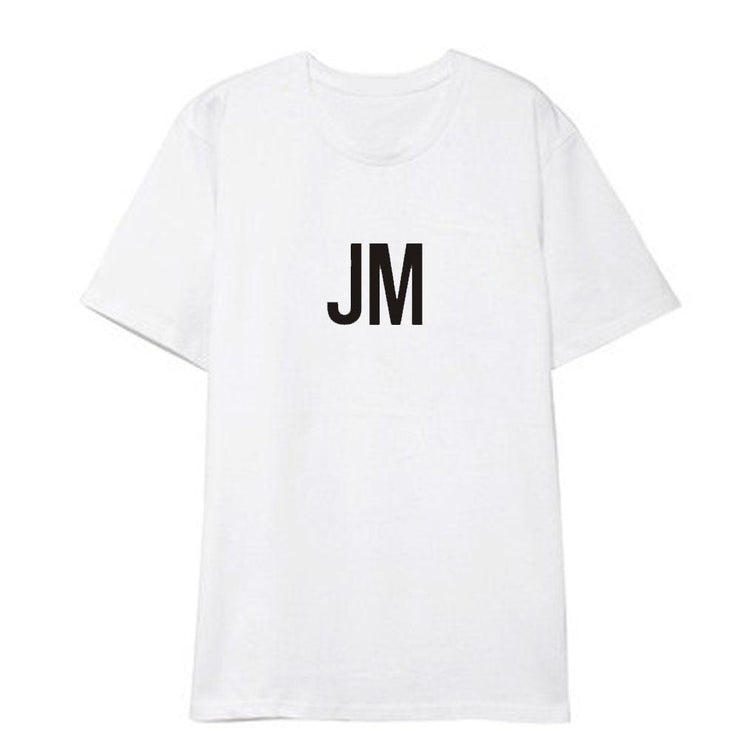 BTS Initial Name T-shirt JIMIN / WHITE / S Gotamochi BTS MERCH BT21 MERCH KAWAII STORE