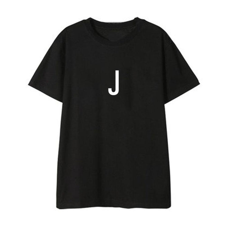 BTS Initial Name T-shirt JIN / BLACK / S Gotamochi BTS MERCH BT21 MERCH KAWAII STORE