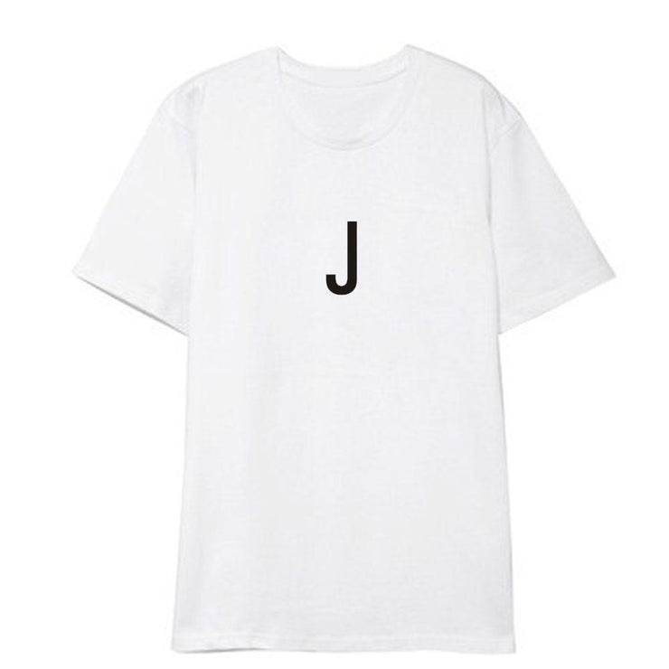 BTS Initial Name T-shirt JIN / WHITE / S Gotamochi BTS MERCH BT21 MERCH KAWAII STORE
