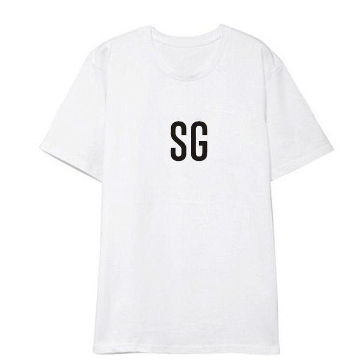 BTS Initial Name T-shirt SUGA / WHITE / S Gotamochi BTS MERCH BT21 MERCH KAWAII STORE