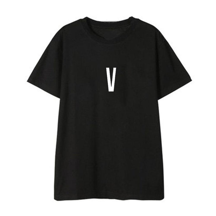BTS Initial Name T-shirt V / BLACK / S Gotamochi BTS MERCH BT21 MERCH KAWAII STORE