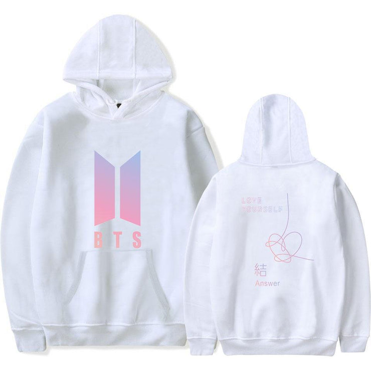 BTS Love Yourself: Answer Pastel Hoodie white / M Gotamochi BTS MERCH BT21 MERCH KAWAII STORE