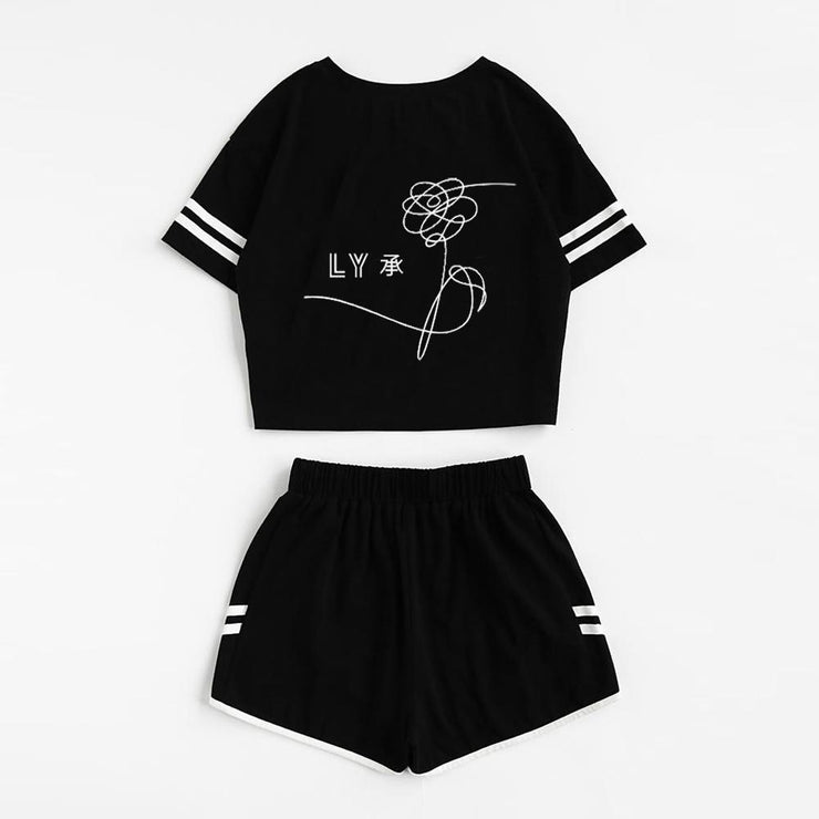 BTS Love Yourself Spring Sleeve Top and Shorts Set Gotamochi BTS MERCH BT21 MERCH KAWAII STORE