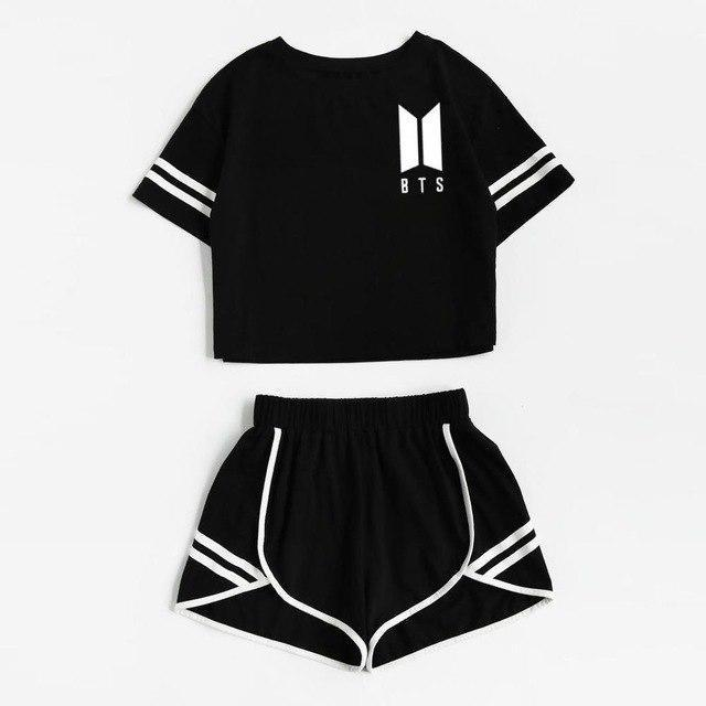 BTS Love Yourself Spring Sleeve Top and Shorts Set Black / L Gotamochi BTS MERCH BT21 MERCH KAWAII STORE