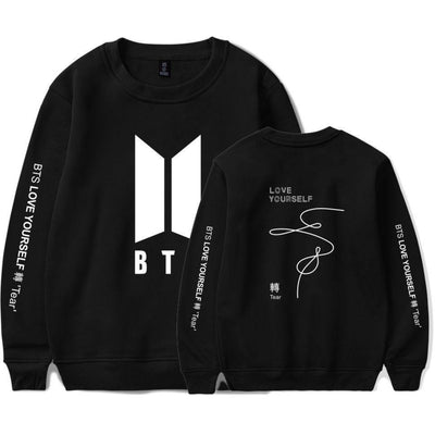 BTS Love Yourself: Tear Classic Pullover black1 / S Gotamochi BTS MERCH BT21 MERCH KAWAII STORE