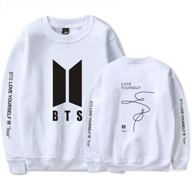 BTS Love Yourself: Tear Classic Pullover white1 / S Gotamochi BTS MERCH BT21 MERCH KAWAII STORE