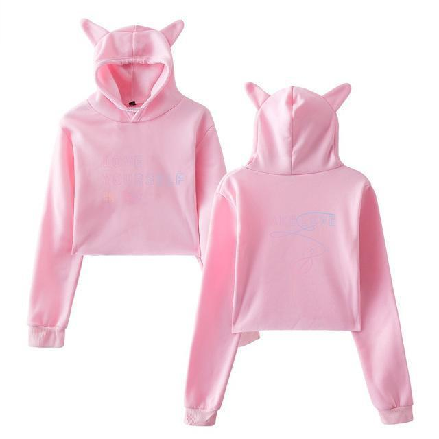 BTS Love Yourself Tear Kitty Hoodie Pink / L Gotamochi BTS MERCH BT21 MERCH KAWAII STORE