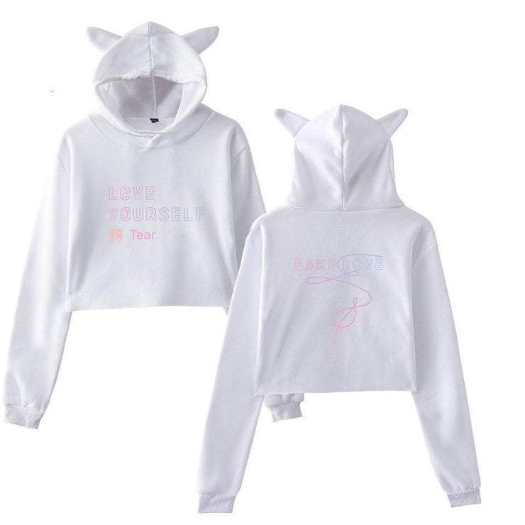 BTS Love Yourself Tear Kitty Hoodie White / L Gotamochi BTS MERCH BT21 MERCH KAWAII STORE