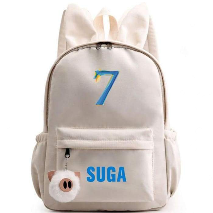 BTS Map Of The Soul: 7 Bunny Backpack SUGA / OFF-WHITE Gotamochi BTS MERCH BT21 MERCH KAWAII STORE