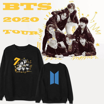 BTS  Map of The Soul: 7 Members Cartoon Sweatshirt Gotamochi BTS MERCH BT21 MERCH KAWAII STORE