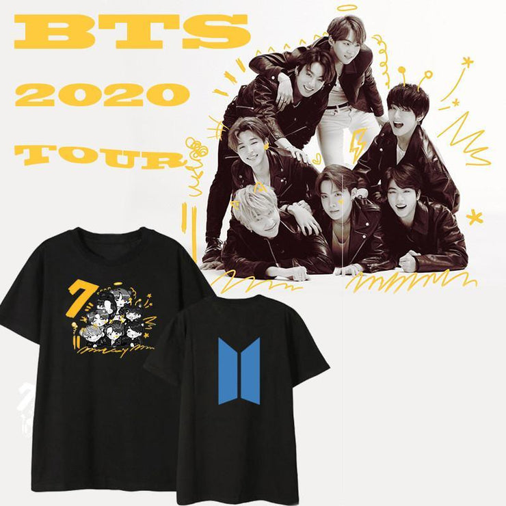 BTS  Map of The Soul: 7 Members Cartoon T-Shirt Gotamochi BTS MERCH BT21 MERCH KAWAII STORE