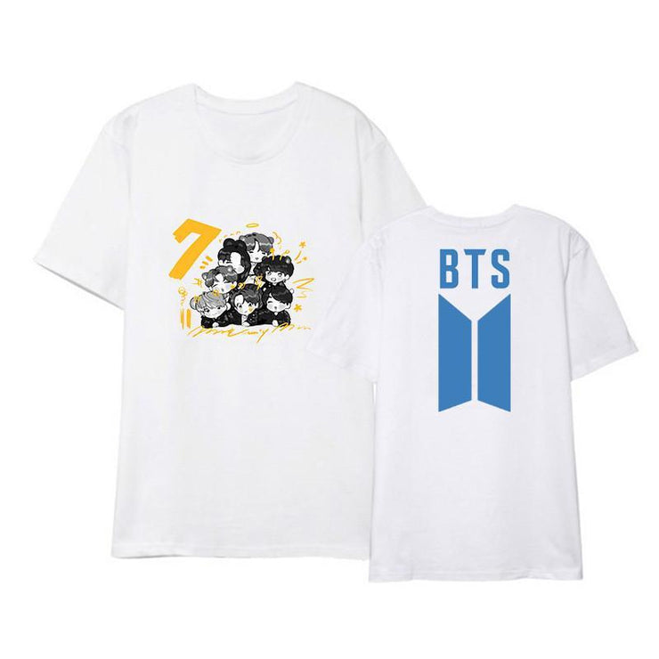 BTS  Map of The Soul: 7 Members Cartoon T-Shirt White with BTS tag / XXS Gotamochi BTS MERCH BT21 MERCH KAWAII STORE