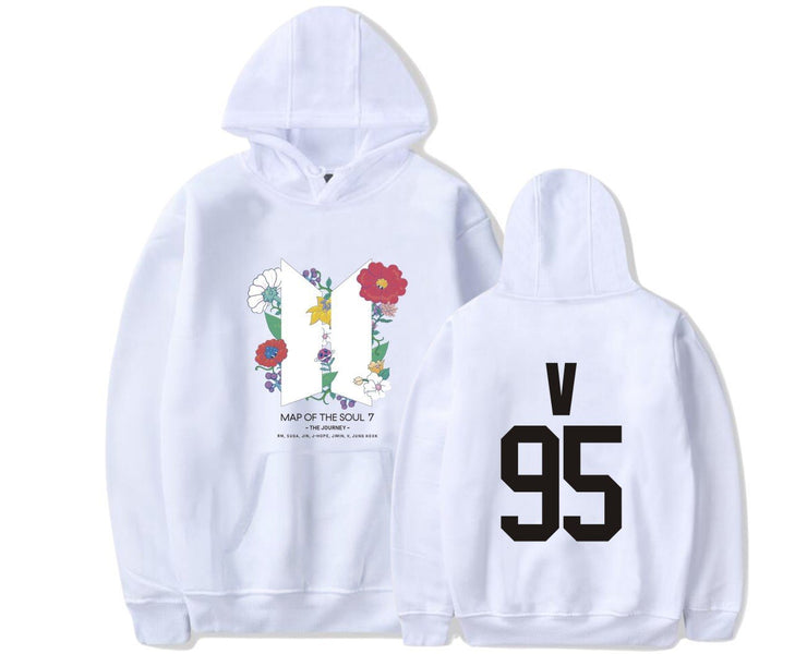BTS Map Of The Soul: 7 'The Journey' Hoodie V / WHITE / S Gotamochi BTS MERCH BT21 MERCH KAWAII STORE