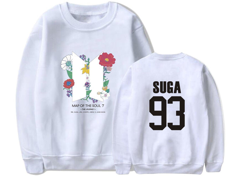 BTS Map Of The Soul: 7 'The Journey' Member Sweatshirt SUGA / WHITE / S Gotamochi BTS MERCH BT21 MERCH KAWAII STORE
