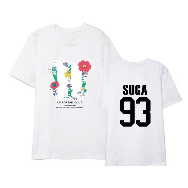BTS Map Of The Soul: 7 'The Journey' Member T-shirt SUGA / WHITE / S Gotamochi BTS MERCH BT21 MERCH KAWAII STORE