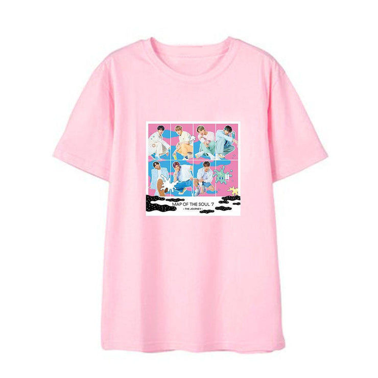 BTS Map Of The Soul: 7 'The Journey' T-shirt PINK / B / S Gotamochi BTS MERCH BT21 MERCH KAWAII STORE