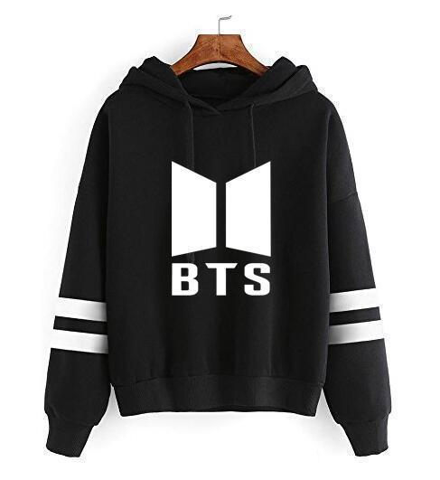 BTS Tour Stripes Hoodie black1 / S Gotamochi BTS MERCH BT21 MERCH KAWAII STORE