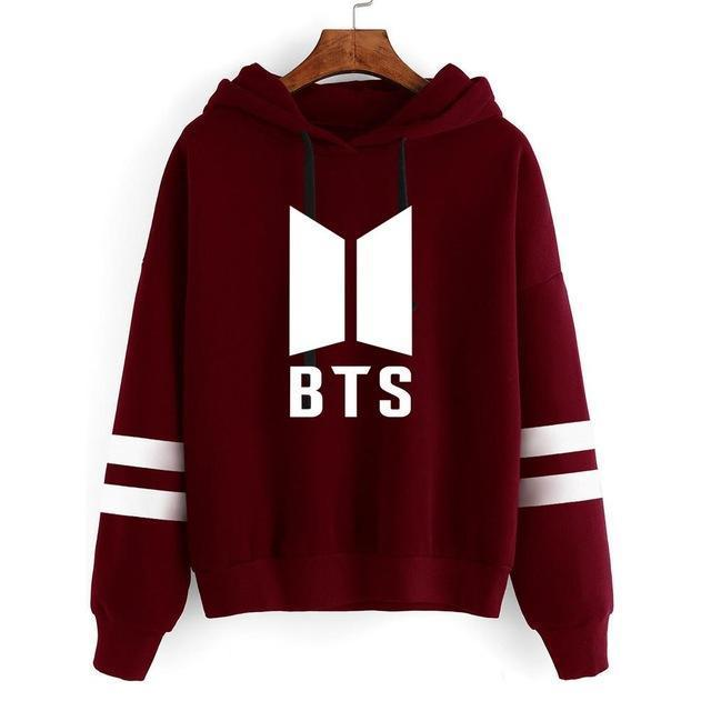 BTS Tour Stripes Hoodie red1 / S Gotamochi BTS MERCH BT21 MERCH KAWAII STORE