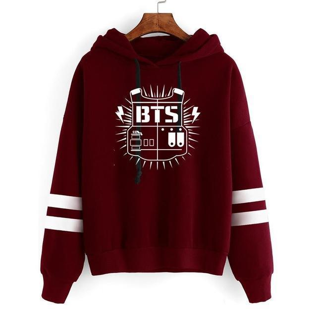 BTS Tour Stripes Hoodie red2 / S Gotamochi BTS MERCH BT21 MERCH KAWAII STORE