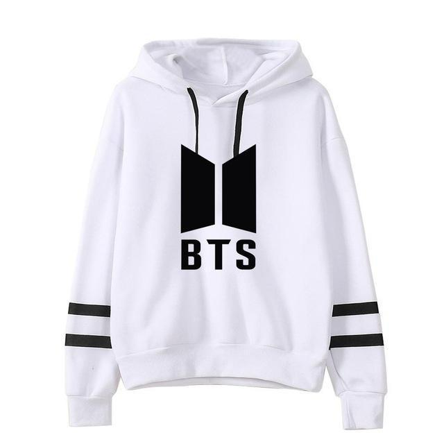 BTS Tour Stripes Hoodie white1 / S Gotamochi BTS MERCH BT21 MERCH KAWAII STORE