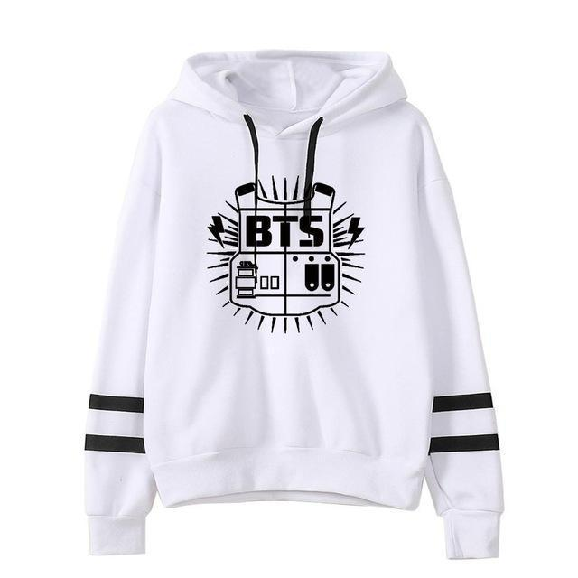 BTS Tour Stripes Hoodie white2 / S Gotamochi BTS MERCH BT21 MERCH KAWAII STORE