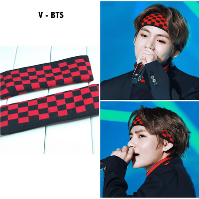 BTS V Taehyung Checkered Headband Gotamochi BTS MERCH BT21 MERCH KAWAII STORE