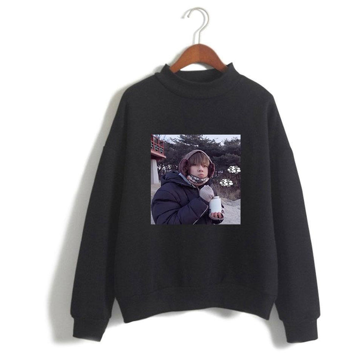 "BTS V Taehyung ""Frozen Tae"" Pullover Black / XXS Gotamochi BTS MERCH BT21 MERCH KAWAII STORE"