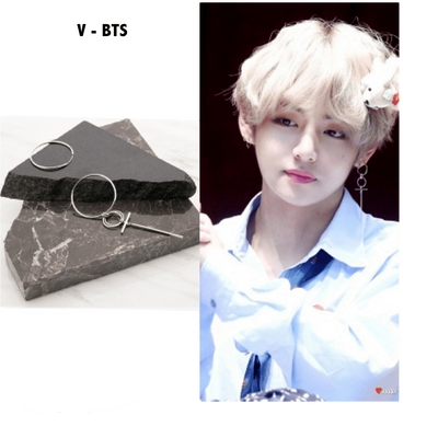 BTS V Taehyung Geometric Earrings Gotamochi BTS MERCH BT21 MERCH KAWAII STORE