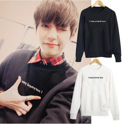"BTS V Taehyung ""I Marymond you"" Pullover Gotamochi BTS MERCH BT21 MERCH KAWAII STORE"