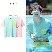 BTS V Taehyung Pastel Patches Tee Gotamochi BTS MERCH BT21 MERCH KAWAII STORE