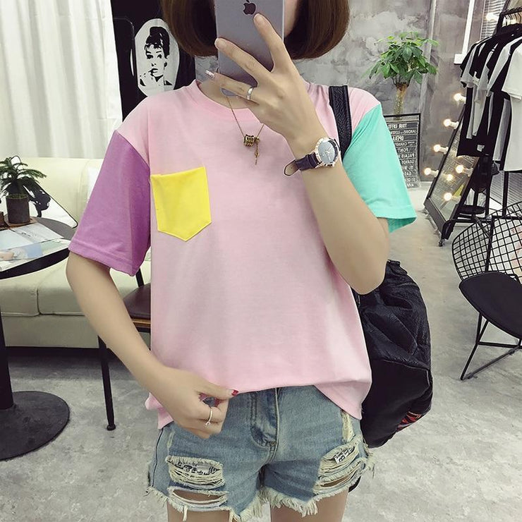 BTS V Taehyung Pastel Patches Tee Pink / M Gotamochi BTS MERCH BT21 MERCH KAWAII STORE