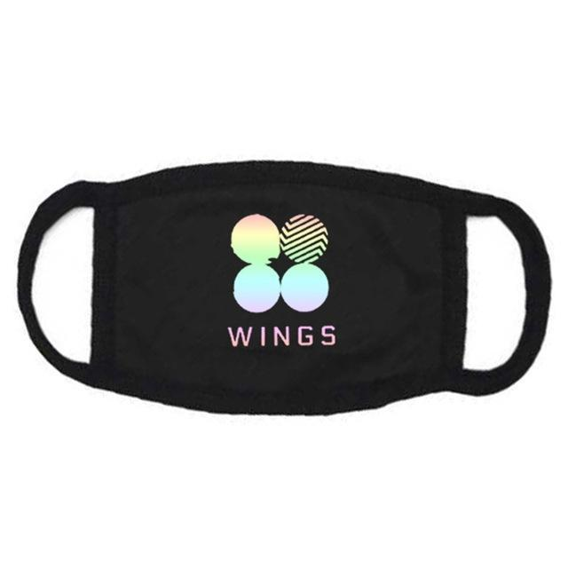 BTS Wings Aesthetics Mask Black Gotamochi BTS MERCH BT21 MERCH KAWAII STORE