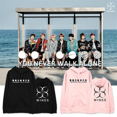 "BTS WINGS ""Never Walk Alone"" Concert Hoodie Gotamochi BTS MERCH BT21 MERCH KAWAII STORE"