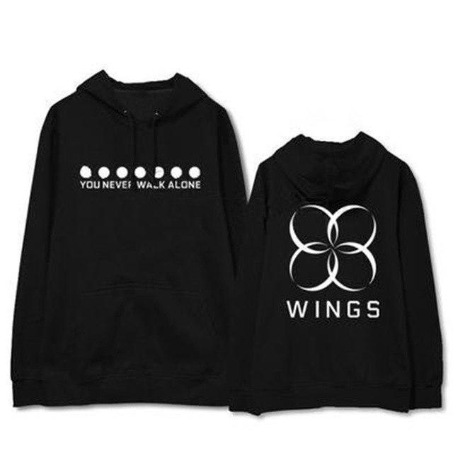"BTS WINGS ""Never Walk Alone"" Concert Hoodie Black Black / L Gotamochi BTS MERCH BT21 MERCH KAWAII STORE"