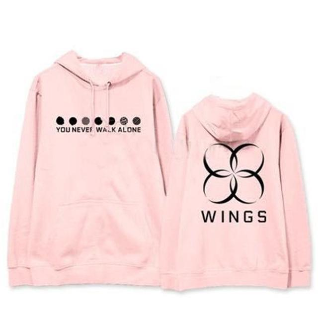 "BTS WINGS ""Never Walk Alone"" Concert Hoodie Pink Black / L Gotamochi BTS MERCH BT21 MERCH KAWAII STORE"