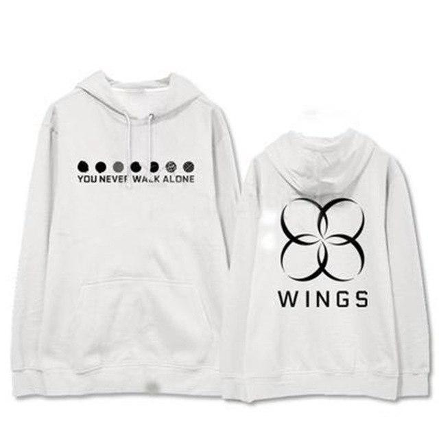 "BTS WINGS ""Never Walk Alone"" Concert Hoodie White Black / L Gotamochi BTS MERCH BT21 MERCH KAWAII STORE"