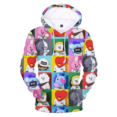 BTS X BT21 3D Collage Hoodie M Gotamochi BTS MERCH BT21 MERCH KAWAII STORE