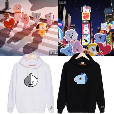 BTS X BT21 Character Hoodie Gotamochi BTS MERCH BT21 MERCH KAWAII STORE