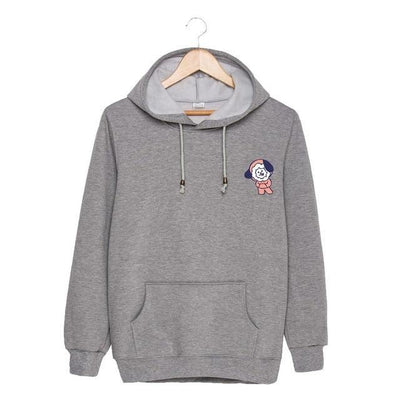 BTS x BT21 Christmas Hoodie Chimmy-Gray / S Gotamochi BTS MERCH BT21 MERCH KAWAII STORE