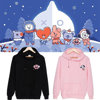 BTS x BT21 Christmas Hoodie Gotamochi BTS MERCH BT21 MERCH KAWAII STORE